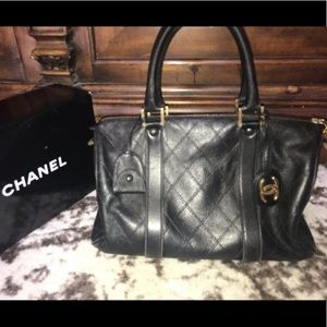 Auth CHANEL vintage quilted leather doctor bag